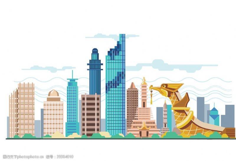 城市背景卡通高楼大厦图片