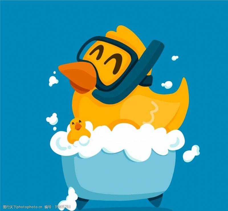 干净卡通洗澡的小黄鸭图片