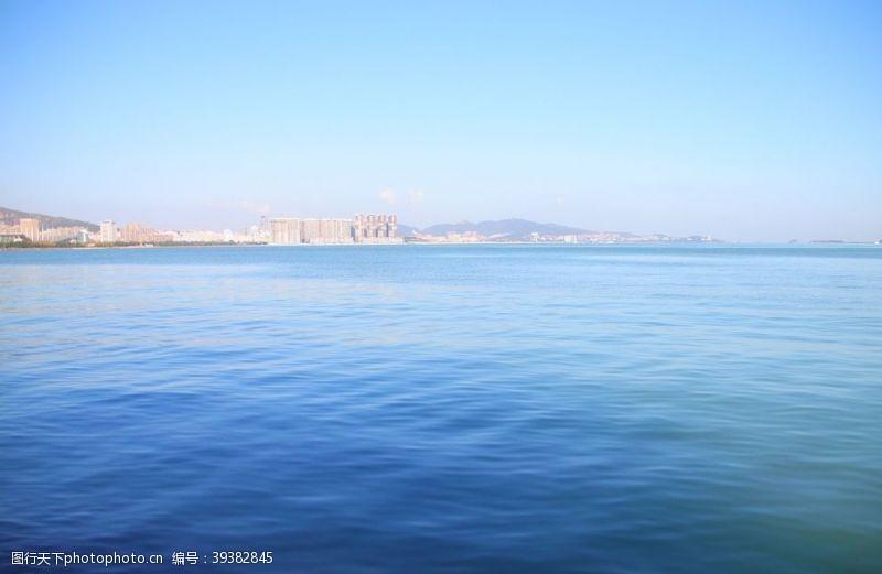 蓝色背景蓝色海洋背景海平面图片