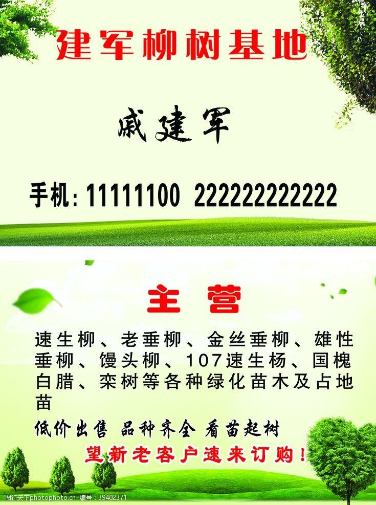 底纹绿色名片图片