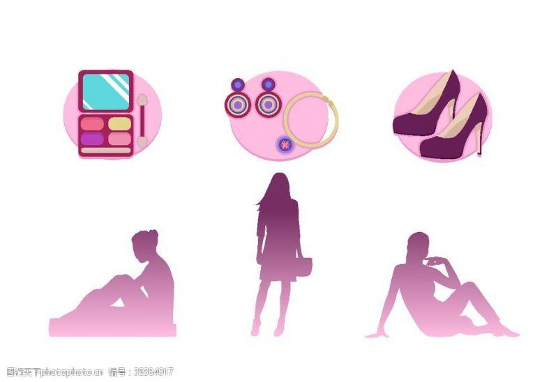 女人矢量图女人化妆品高跟鞋图片