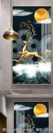 吉祥如意轻奢手绘麋鹿抽象风景装饰画图片