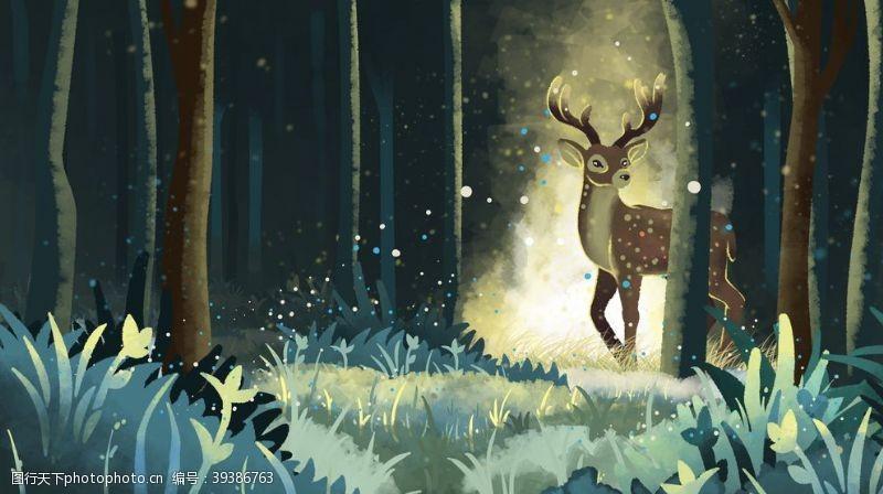 森林小鹿清新插画背景海报素材图片