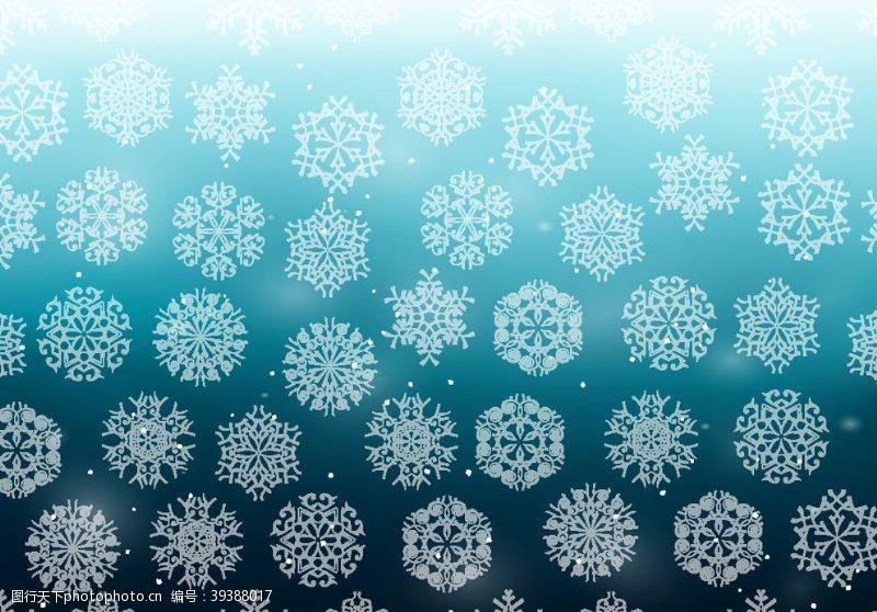 蓝色背景下雪图案图片
