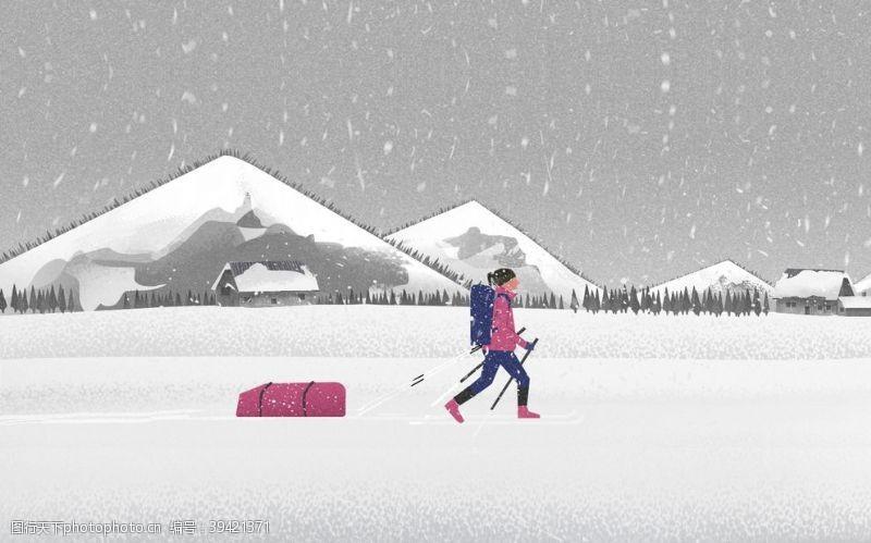 风景漫画行走在雪地里的人图片