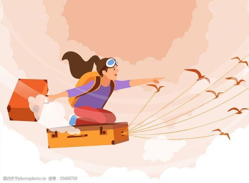 坐旅行箱飞行的女子图片