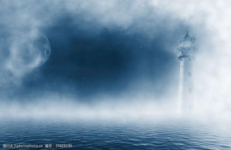 灯塔海月亮图片