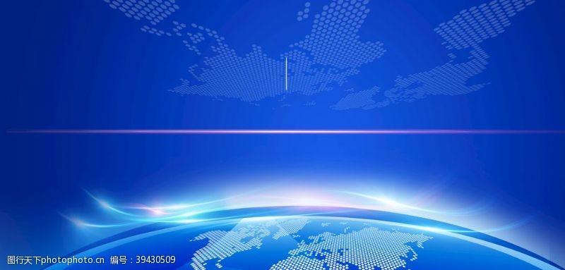 蓝色背景展架地球蓝色展板背景图片