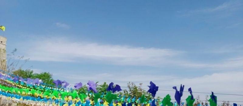 风车蓝天图片