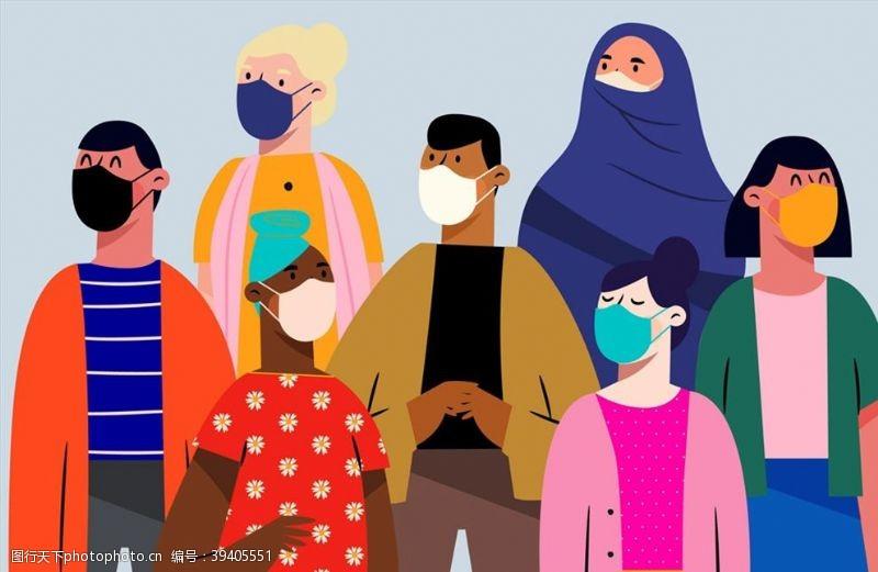 疾病佩戴口罩的男女图片