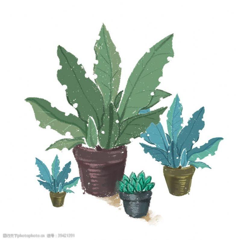风景漫画盆栽植物元素图片