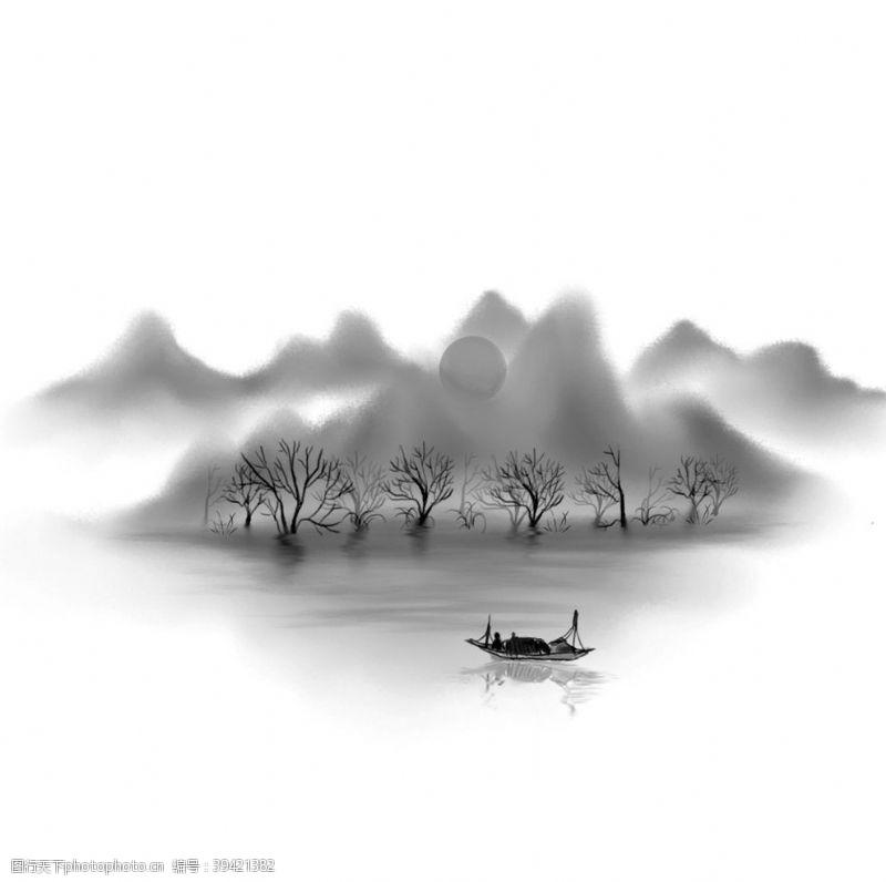 风景漫画山水插画装饰图片