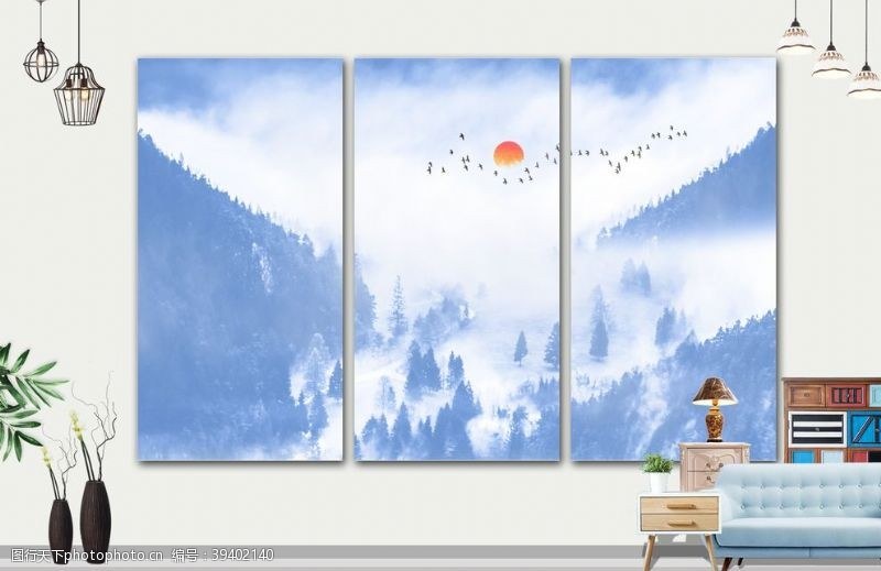 壁画山水画图片