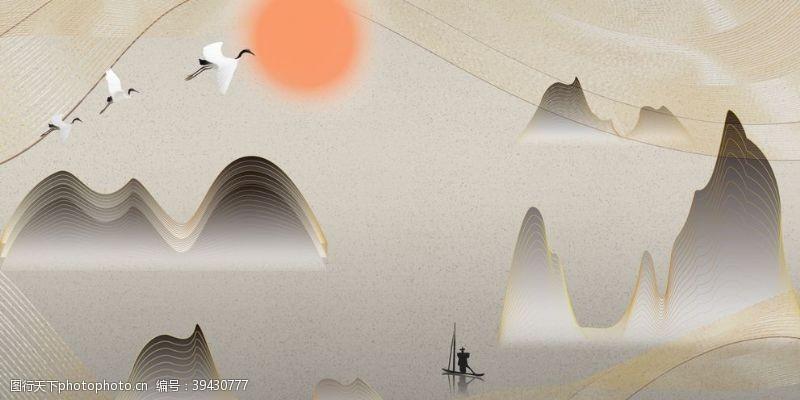 墙壁背景水墨壁画图片