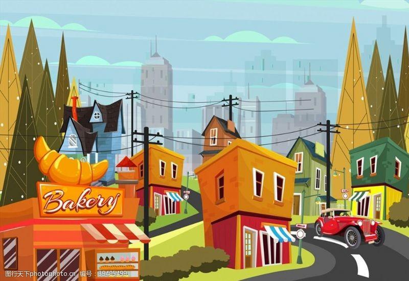 吉普车小城街边风景图片