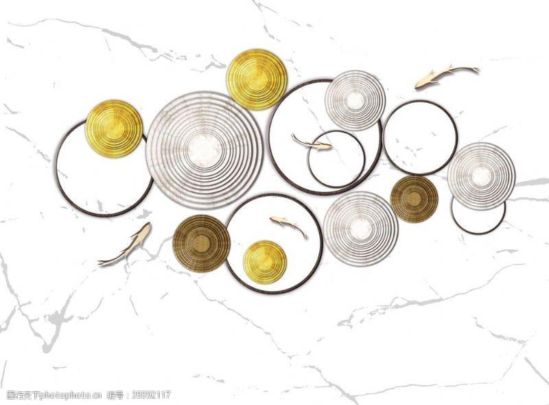 北欧新中式抽象金色圆圈抽象装饰画图图片