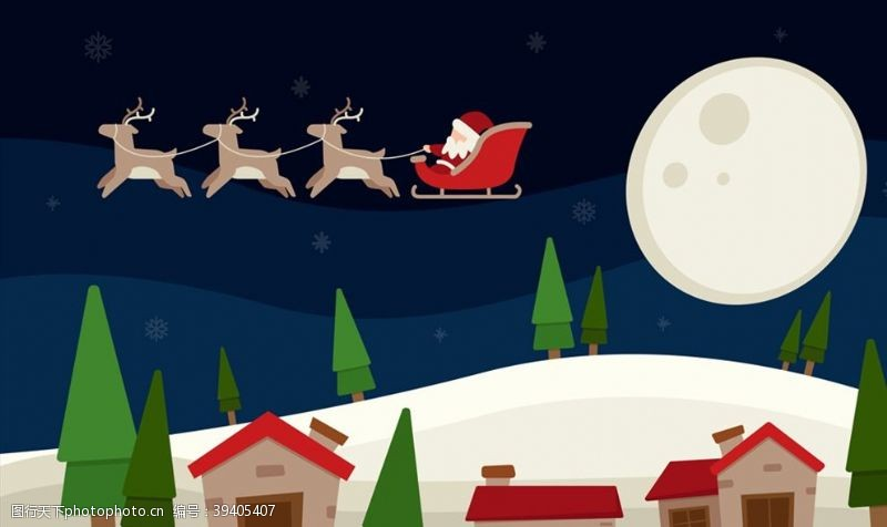 山坡雪夜上空圣诞老人图片