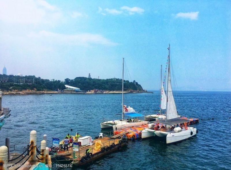 帆船烟台大海图片