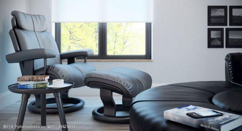 3dc4d室内书房桌椅皮质图片