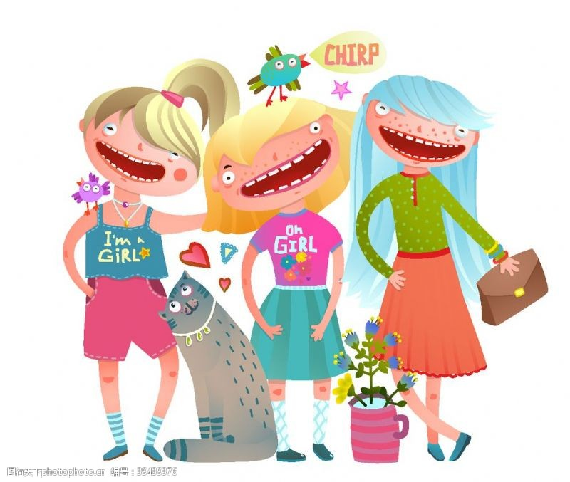 卡通插画宠物猫与女孩插画图片