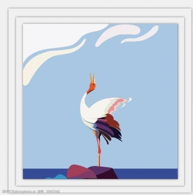 卡通小鸟丹顶鹤图片