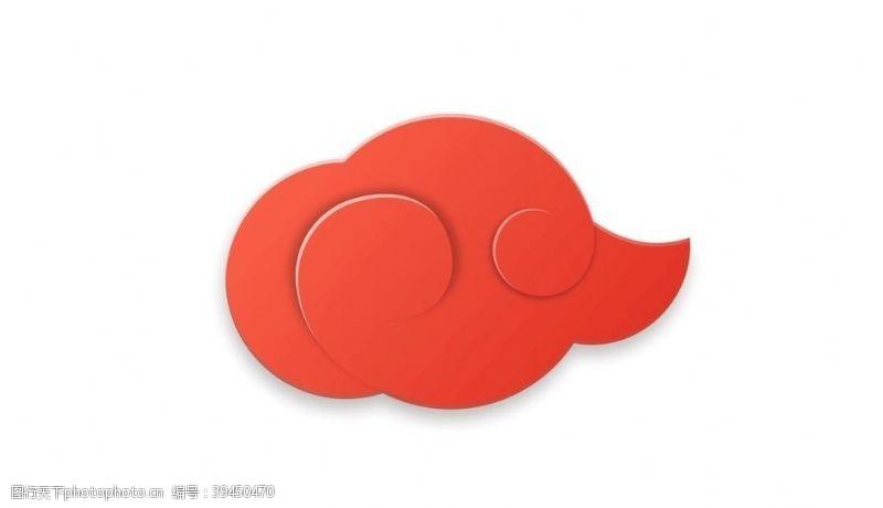 线条红色祥云云纹中国风图片