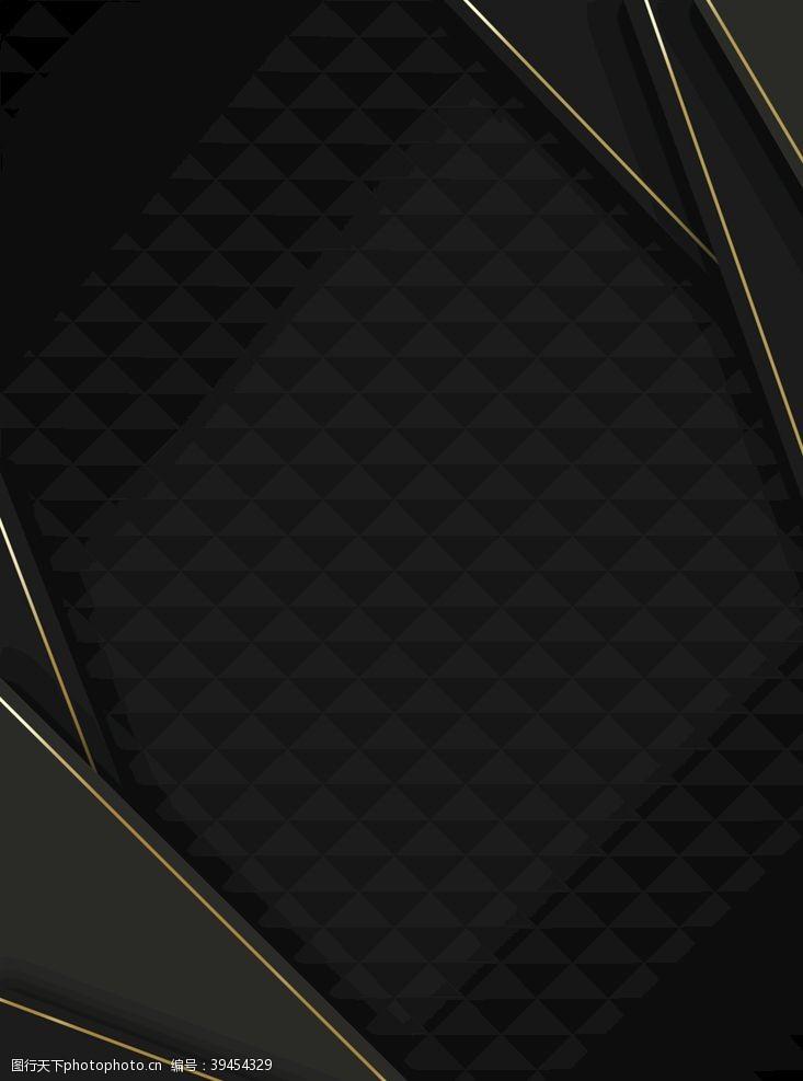 大气金色奢华黑色三角背景图片