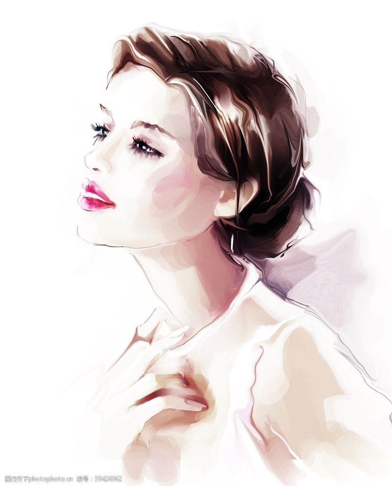 性感美女美女绘画插画图片