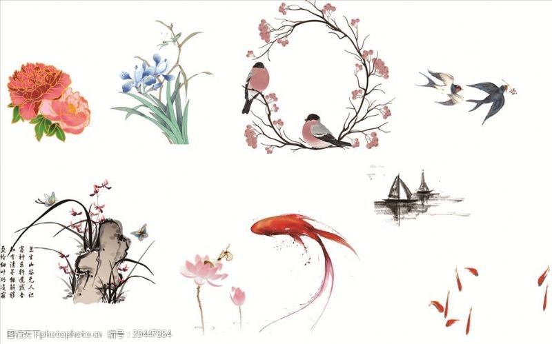 帆船鸟语花香图片