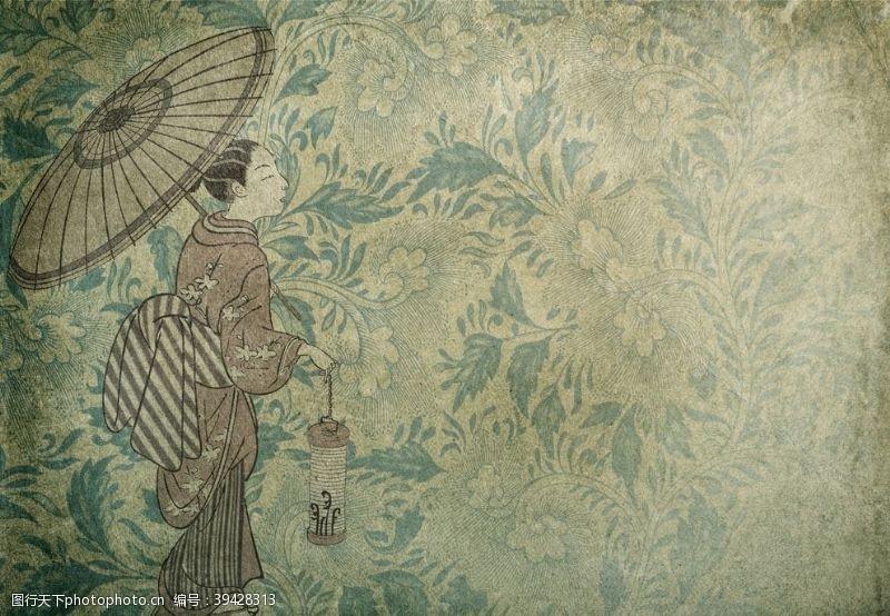 日本风格壁画图片