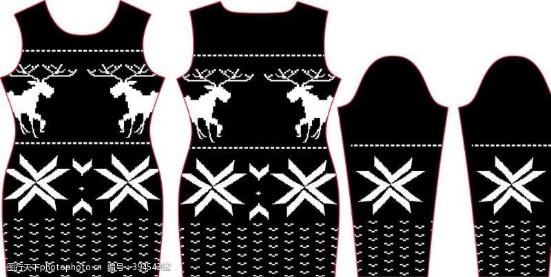 印花图案圣诞色块鹿图片