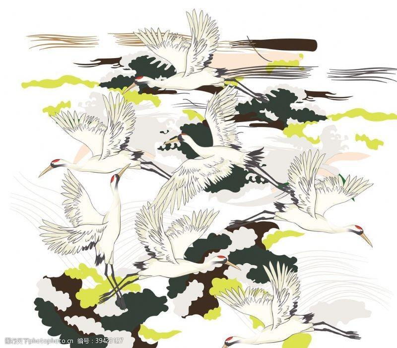 鸟类手绘水墨仙鹤素材图片