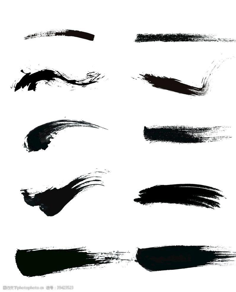 中式古典水墨笔刷笔触素材图片