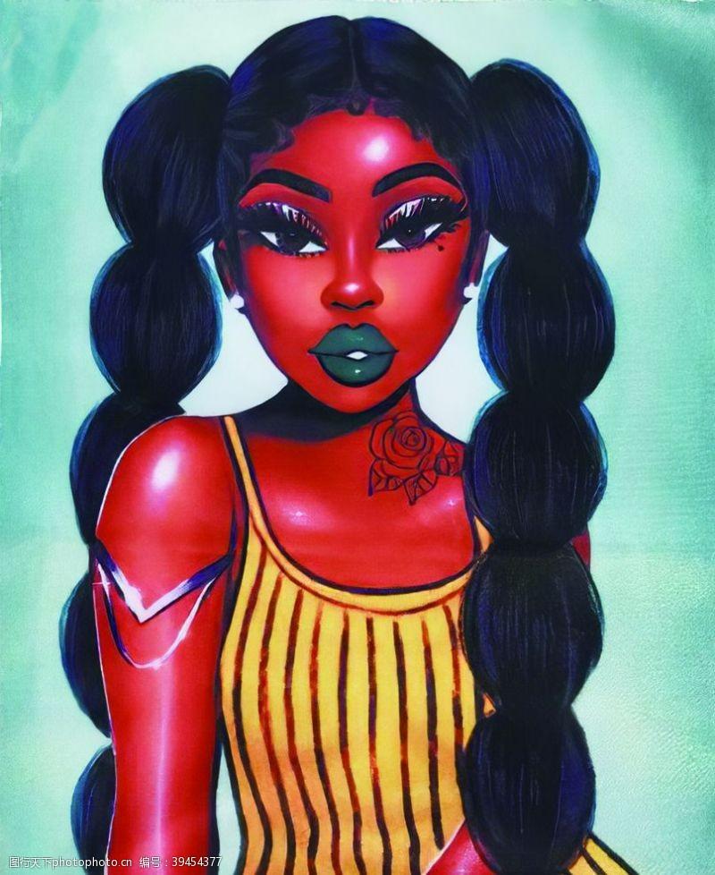 印花图案外单南非黑美人图片
