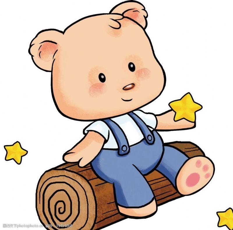 坐在木头上的卡通小熊图片