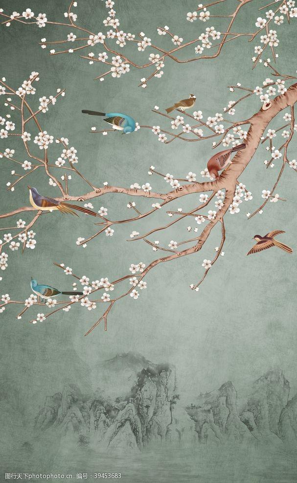 梅花花朵复古山水背景海报素材图片
