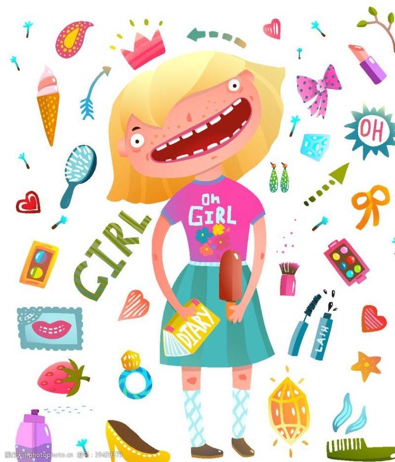 卡通插画女孩与日用品插画图片