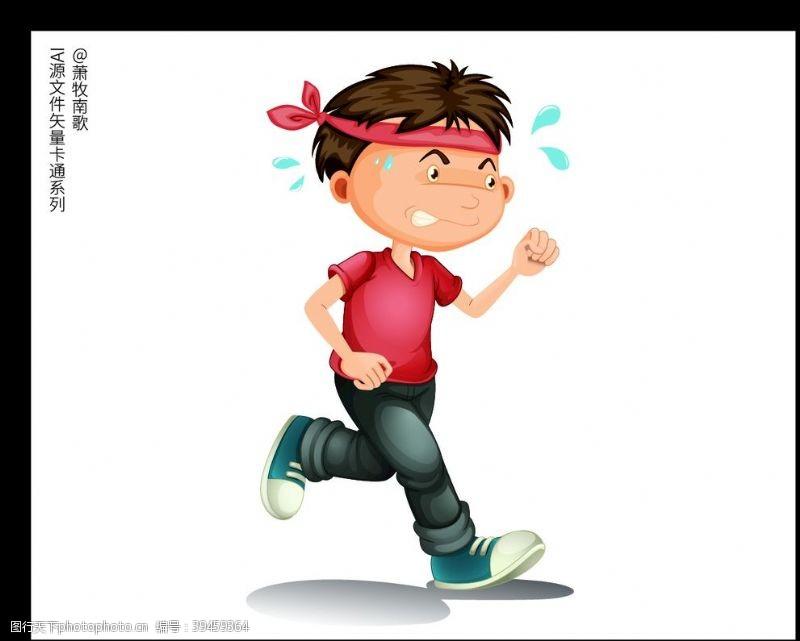 跑步运动人物卡通矢量AI源文件图片