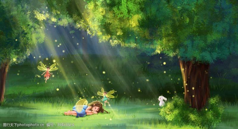小人物森林人物小女孩清新背景海报素材图片