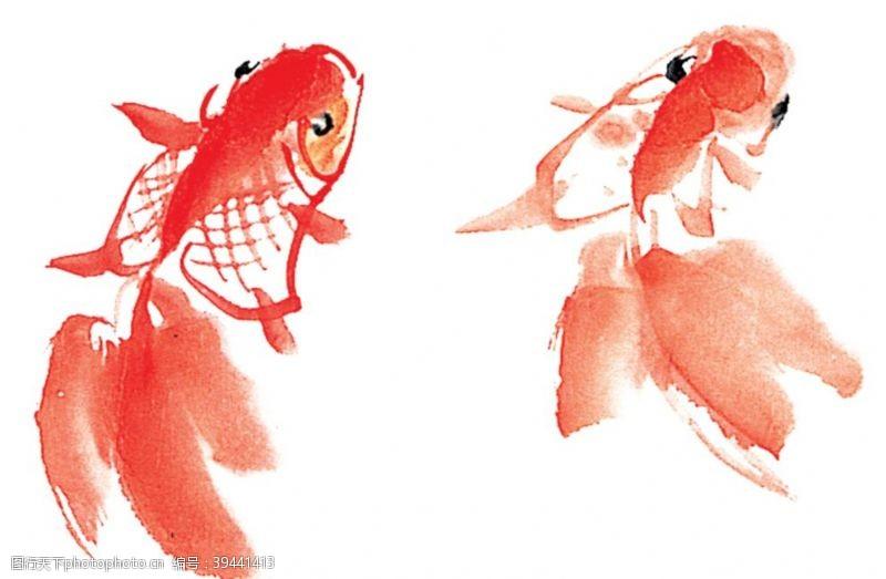 中国画水墨红色金鱼png素材图片