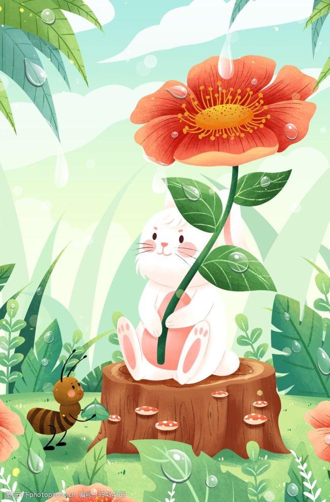 兔子花朵卡通插画背景海报素材图片