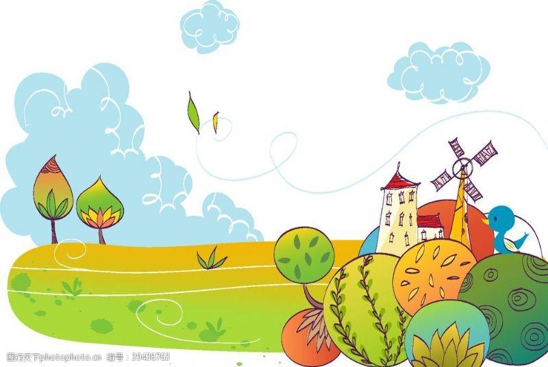 风车夏天卡通背景图片