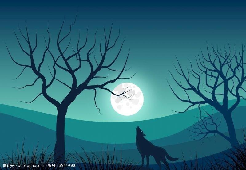 月亮月光狼图片