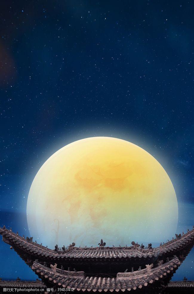月亮屋檐复古背景海报素材图片