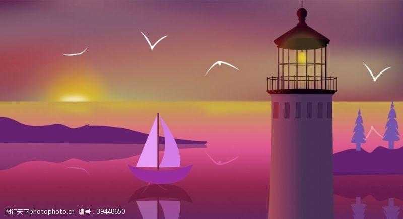 天空傍晚中的灯塔图片
