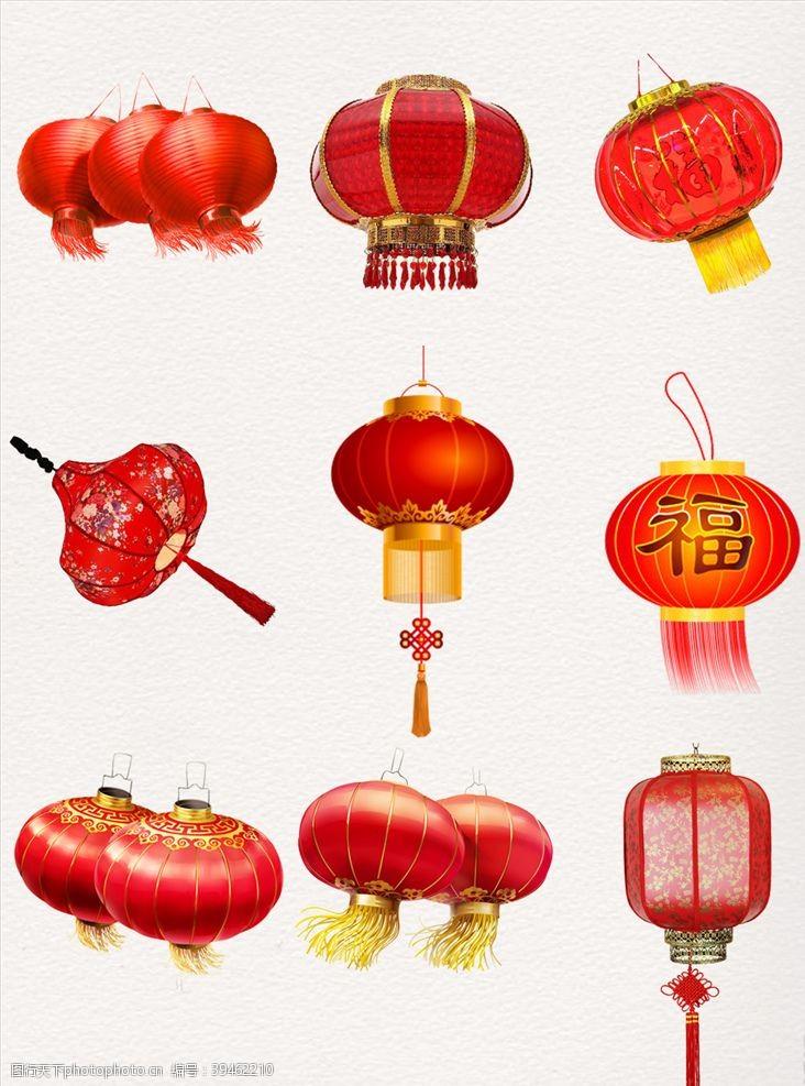 写意灯笼新年灯笼素材红灯笼图片
