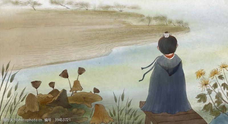 小人物秋季菊花人物复古背景海报素材图片