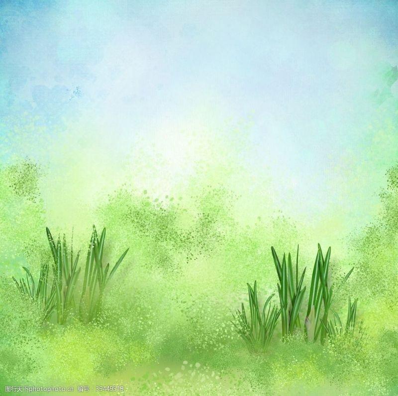 剪影手绘草背景图片