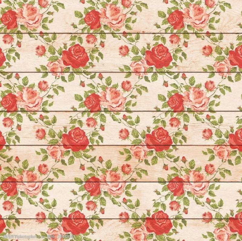 北欧背景墙手绘花朵木板背景图片