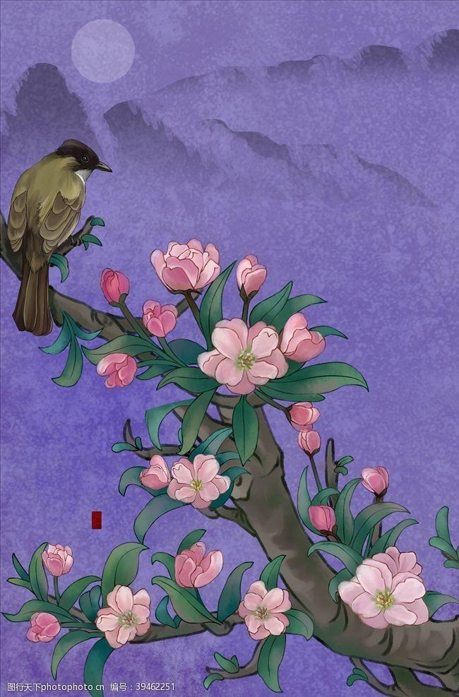 古典装饰画花鸟图图片